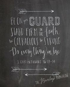 Do Everything in Love Printable — Bible Verse Art — Scripture Art — 1 Corinthians 16:13-14 — Chalkboard Design — Hand Lettered (8×10)