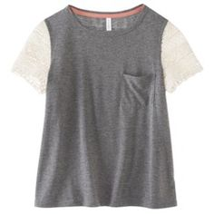 Xhilaration® Junior's Lace Sleeve Tee - Assorted Colors♡