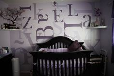 Transitional Nursery.... Love that you can see the name in dark purple Izabella