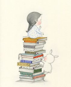 How many books can you read? Pencil Art Drawings, Cute Drawings, Drawing Sketches, Cute Girl Drawing, Cute Images, Children's Book Illustration, Whimsical Art, Cute Wallpapers, Cute Art