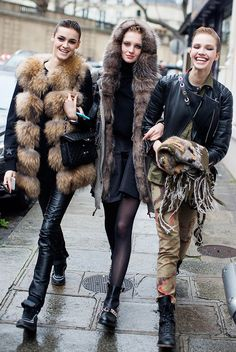 On far left: Givenchy jacket and Chanel bag; On center: Givenchy shoes; Far right: Sasha Luss