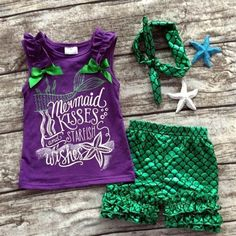 Baby Girls Summer clothes baby girls boutique clothing girls mermaid kisses and starfish wishes outfits with matching headband Mermaid Outfit, Mermaid Shirt, Baby Mermaid, Mermaid Kisses, Mermaid Clothes, Mermaid Birthday Outfit, Girls Summer Outfits, Toddler Outfits, Kids Outfits