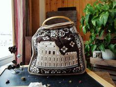 Vintage Fabric Italian Purse Tote Bag Roma Design Chocolate Dark Brown Tones Bohemian Boho Hippie Handbag Women Girl Clothing Accessories