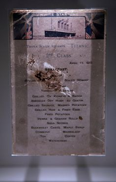 Titanic Sinking 100th Anniversary: RMS Titanic artifacts to be auctioned off A Titanic 2nd class menu is exhibited at the SeaCity Museum's Titanic exhibition on April 3, 2012 in Southampton, England.