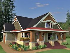 House Plan 42618 is a #craftsman style design with 3 bedrooms, 2 bathrooms, and a bonus area of 288 sq. ft. Total living area is 1866 sq. ft. Find this #houseplan at familyhomeplans.com!