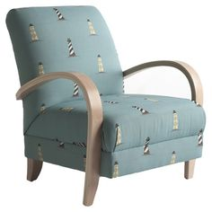 Wood-framed accent chair with lighthouse-print upholstery. Made in the USA. Product: ChairConstruction Material: