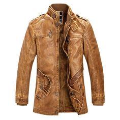 Men High Quality Leather Slim Warm Jacket