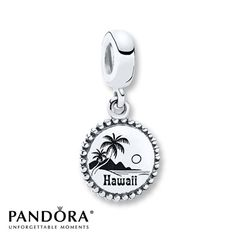 "TRAVEL=This sterling silver dangle charm from the PANDORA 2014 Destination collection depicts a palm tree and sunset with the inscription ""Hawaii."" Style # USB791169-G044."