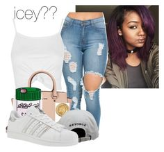 """""""Peep Into My Gaze """" by dej0 ❤ liked on Polyvore featuring Topshop, Michael Kors, Versace and adidas"""
