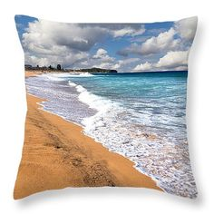 "Beauty and the Beach by Kaye Menner Throw Pillow 14"" x 14"" by Kaye Menner"