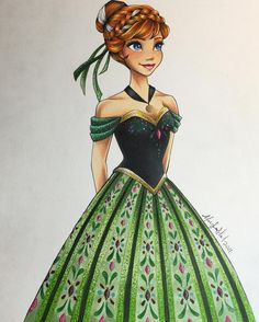 "Anna from ""Frozen"" - Art by Max Stephen (maxxstephen on Instagram)"