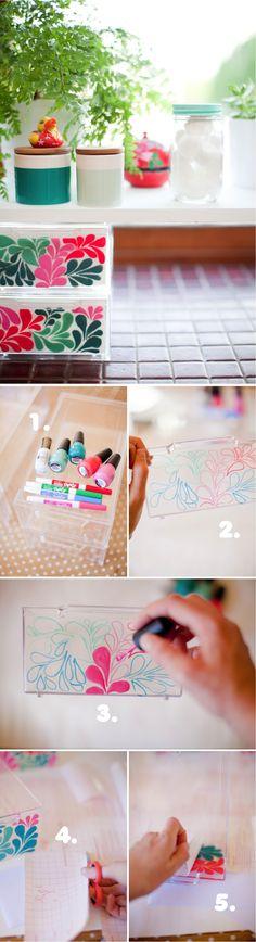 DIY clear bathroom shelves decorated with nail polish