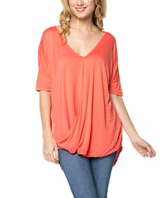 Love this Coral Drape Hi-Low Tee by Serene Blue on #zulily! #zulilyfinds