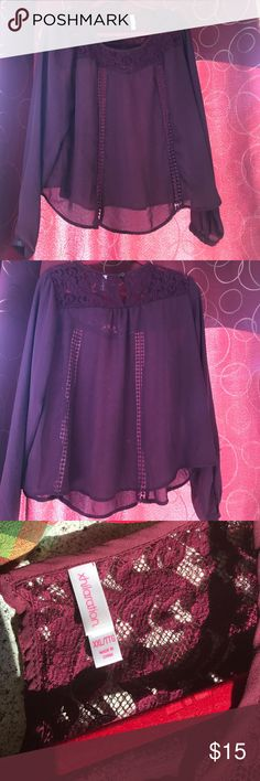 """Career blouse w/lace detail XXL Last pics are true color. Fairly sheer. Keyhole in back. Button at bottom of sleeves. Pretty detailing. Approx 24"""" armpit to armpit. Loose and flowy. Xhilaration Tops Blouses"""