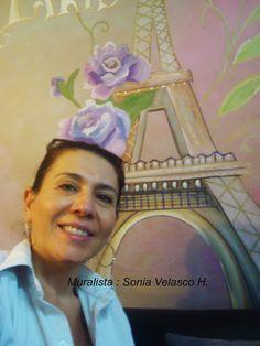 sonia velasco con el mural, tecnica vintage, mural, children, babies, niños, infantiles, antiguo , murales, decoracion, paredes
