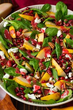 Have you ever tried adding fresh cranberries to your salad dressing before? It adds such a bright flavor and it's the perfect way to use up some of the ext recipes Pear Spinach Salad (with Cranberry Orange Dressing) - Cooking Classy Winter Salad Recipes, Christmas Salad Recipes, Thanksgiving Recipes, Green Salad Recipes, Thanksgiving 2020, French Salad Recipes, Christmas Lunch Ideas, Thanksgiving Salad, Best Salad Recipes