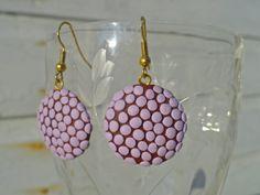 Lavender Polka Dot Earrings for sale $17