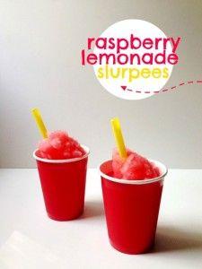 These raspberry lemonade slurpees are easy and use my raspberry lemonade soda recipe as a base.