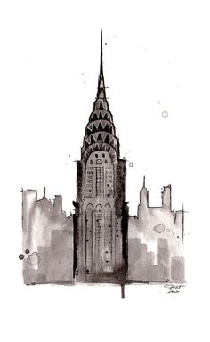 Print of original watercolor study of Chrysler Building NYC by Jessica Durrant.