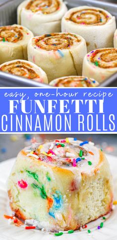 This recipe for funfetti cinnamon rolls is packed with sprinkles and is the perfect cinnamon roll flavor for a fun brunch with friends and family! Cake Mix Recipes, Baking Recipes, Dessert Recipes, Fun Recipes, Dessert Drinks, Sweet Recipes, Recipies, Desserts To Make, Food To Make