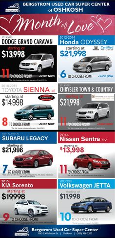 Berstrom Used Cars Super Center in Oshkosh at Exit 116. Ask for Ted! 920-966-2200