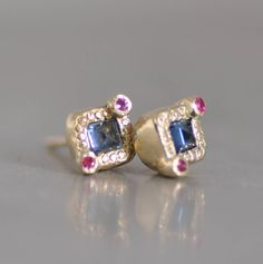 367fc9c2a Blue Sapphire And Gold, Fine 14k Gold Studs Earring, Small Solid Gold  Earring