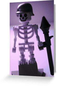 """""""Skeleton Army Custom LEGO® Minifigure Helmet  Bazooka, by 'Customize My Minifig'"""" Greeting Cards  Postcards by Chillee 