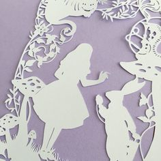 Alice in Wonderland with Cheshire Cat White Rabbit and floral