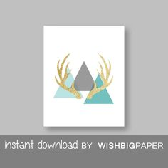 SALE!! Deer Antler Triangle Printable Wall Art Print - Instant Download. Aqua Turquoise Teal Gold Glitter Triangle Deer Antler Printable.