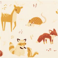 cream forest animal deer fox organic fabric birch USA