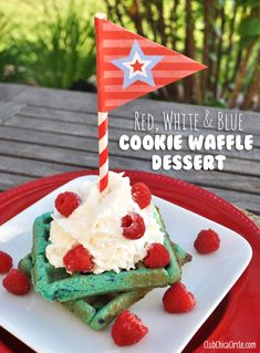 Red, white and blue Cookie Waffles Dessert Idea