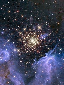 This shows a new star being born from within an existing star cluster.   The cluster is surrounded by clouds of interstellar gas and dust - called a nebula. This makes up the raw material needed to make a new star.    The nebula, located 20,000 light-years away in the constellation Carina, contains a central cluster of huge, hot stars, called NGC 3603 (HST)