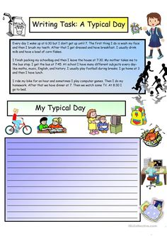 FREE Creative Writing Printables: A Typical Day #3 A1 Level