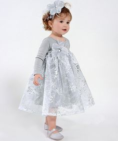 Light Gray Snow Princess Dress - Infant #zulily #zulilyfinds