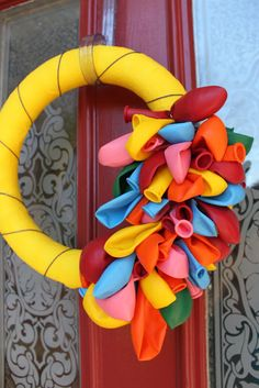 """Balloon wreath - perfect for identifying your house as the """"party house."""""""