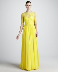2013 Best selling Yellow Lace Chiffon Modest Long Bridesmaid Dresses With Sleeves $109.00