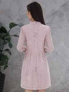 Long Sleeve Bow Tie Lace Dress