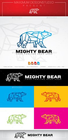 Mighty Bear Logo: Animal Logo Design Template by maximumdesignstudio. Logo Design Template, Logo Templates, Icon Design, Print Design, Graphic Design, Portfolio Logo, Bear Logo, Creative Icon, Animal Logo