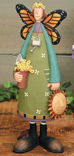Lady With Butterfly Wings Figurine – Everyday Folk Art Figurines & Collectibles – Williraye Studio $40.00
