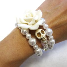 Day Of The Dead Bracelet Sugar Skull Jewelry by sweetie2sweetie, $25.99