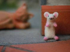 Needle Felted Mouse Needle Felted Animal by ThreeLittleCatsShop