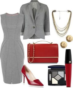Fashion Style Combination - A blend of gray/burgundy, gray dress with jacket, and beautiful accessories, burgundy clutch handbag and pumps, with accessories. Business Casual Outfits, Business Dresses, Professional Outfits, Office Outfits, Classy Outfits, Chic Outfits, Office Wardrobe, Business Attire, Capsule Wardrobe