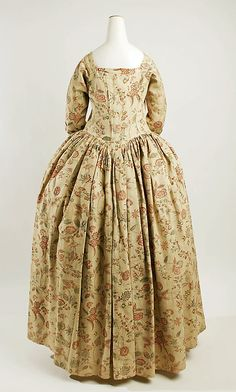Dress (Robe à la Française)  Date: mid-18th century Culture: American Medium: linen, cotton Dimensions: Length: 54 in. (137.2 cm) Credit Line: Rogers, Fund 1938 Accession Number: 38.26a, b