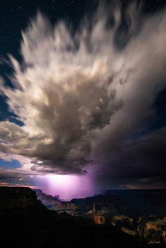 ~~Intensity ~ summer thunderstorm is backlit by lightning, Grand Canyon, Arizona by Adam Schallau
