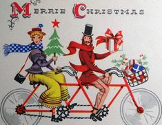 Old Fashioned Antique Tandem Bike Bicycle Vintage Christmas Card