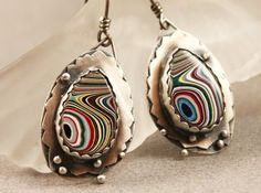 Silver Fordite Cabochon Earrings by madstarsilver on Etsy, $106.06