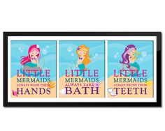 Set Of 3 Little Mermaid Bathroom Rules S Decor Kids Bath Print For