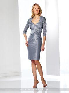 Two-piece shantung and lace dress set, sleeveless shantung knee-length sheath…