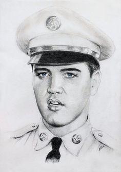 Drawing of Elvis by Ewa Stepien