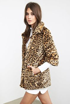 7cc4f598 Forever 21 Buffalo Plaid Snap On Coat Fall Coats. Forever 21 Leopard Print Faux  Fur ...